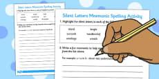 Silent Letters Mnemonic Spelling Activity