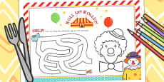 Circus Themed Birthday Party Activity Place Mats