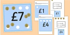 Workstation Pack 1-10 Pound Coin Money Matching Cards