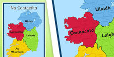 Irish Counties of Ireland Display Poster Gaeilge