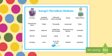 Word Mat to Support Teaching on George's Marvellous Medicine