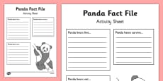 Panda Fact File Activity Sheet