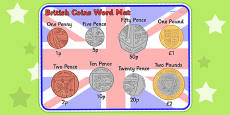 New British (UK) Coins Word Mat