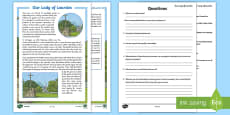 * NEW * Our Lady of Lourdes Differentiated Reading Comprehension Activity
