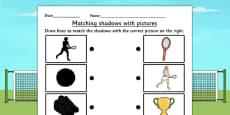 Wimbledon Themed Shadow Matching Activity Sheet