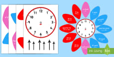 Analogue Clock Flower Labels English/Romanian