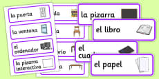 Spanish Classroom Word Cards