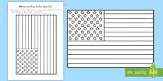 Memorial Day Flag Color and Cut Activity Sheet