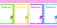 8th Birthday Party Thank You Notes