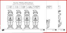 Weihnachtsrechnen Addieren bis 10 Arbeitsblätter