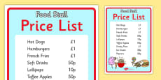 The Fairground Food Stall Role Play Price List