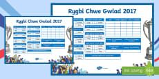 * NEWYDD * Siart Arddangos Rygbi Chwe Gwlad 2017 Poster