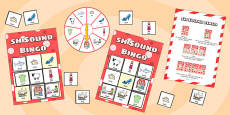 sh Sound Bingo Game with Spinner