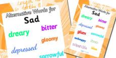 Alternative Words For Sad Display Poster (Large)