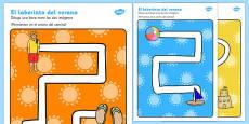 Summer Pencil Control Path Activity Sheets Spanish