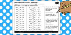 Addition and Subraction Activity Sheet