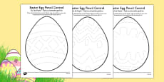 Easter Egg Pencil Control Activity Sheets Romanian Translation