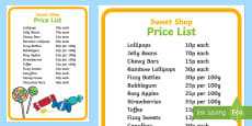 Sweet Shop Role Play Price List Poster