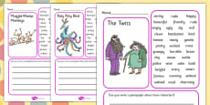 Character Description Writing Frame to Support Teaching on The Twits