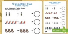 * NEW * Pirate Addition Activity Sheet English/Romanian