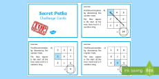 Secret Addition Number Paths Challenge Cards