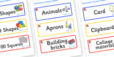 Mondrian Themed Editable Classroom Resource Labels