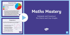 Year 6 Interpret and Construct Pie Charts and Line Graphs Maths Mastery Activities PowerPoint