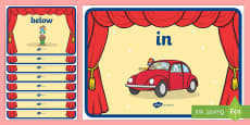 Circus Themed Positional Language Display Posters