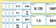 Fractions Decimals and Percentages Loop Cards