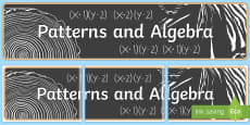 Patterns and Algebra Display Banner