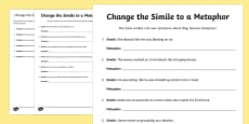 Change the Simile to a Metaphor Activity Sheet