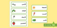 بطاقات كلمات أيام الأسبوع لدعم تدريس اليرقة الجائعة جداً
