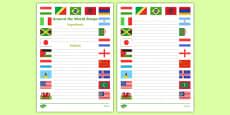 Around the World Recipe Writing Frame
