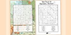 The Tale of Squirrel Nutkin Wordsearch (Beatrix Potter)