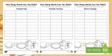 * NEW * How Many Words? Shrove Tuesday Activity Sheets