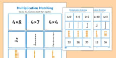 4 Times Table Multiplication Matching Puzzle