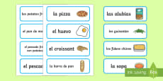 * NEW * Food Word and Picture Cards Spanish
