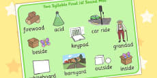 Two Syllable Final 'D' Sound Word Mat 2