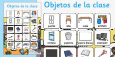 Classroom Objects Vocabulary Poster Spanish