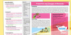 PlanIt - Science Year 5 - Properties and Changes of Materials Planning Overview