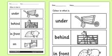 Farm Colour the Prepositions Activity Sheet