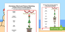Christmas Word and Picture Matching Activity Sheet English/Afrikaans