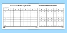 Forainmneacha Réamhfhoclacha Activity Sheet