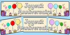 French Happy Birthday Display Banner