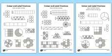 Colour and Label Fractions Worksheet