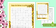 * NEW * Spring Vocabulary Word Search Spanish