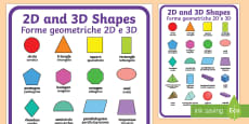 * NEW * 2D and 3D Shapes Poster English/Italian