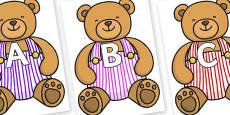 A-Z Alphabet on Dugaree Teddy