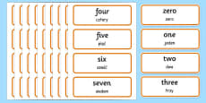 0-100 Number Words Word Cards Polish Translation