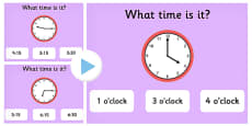 Clock Matching PowerPoint Game Version 1
